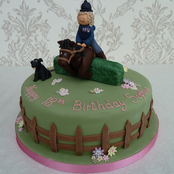 Horse jumping cake