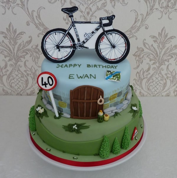 Cycling hobby theme cake