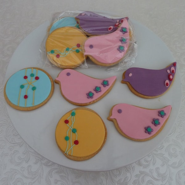art deco bird cookies