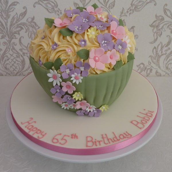 Giant floral cupcake