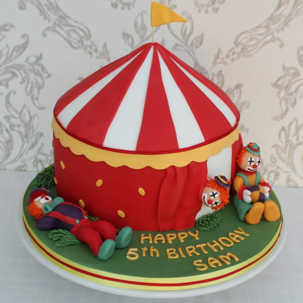 Circus big top clown cake