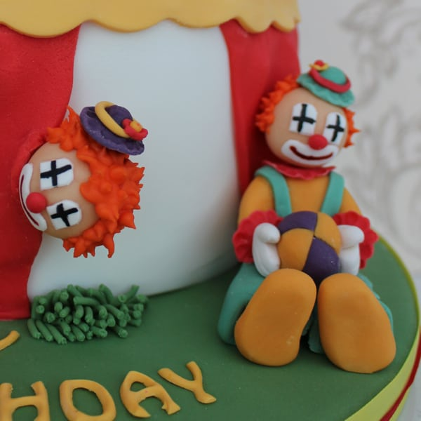 Clown detail on circus cake