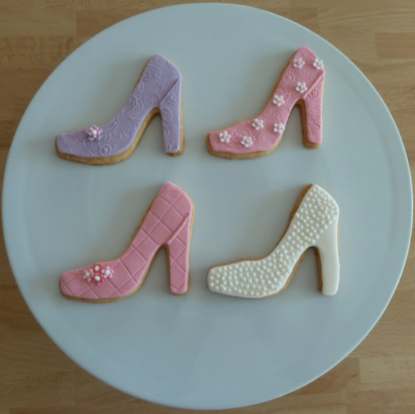 pink, lilac, white shoe cookies