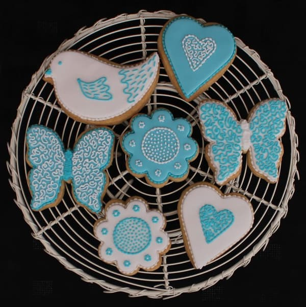 Aqua blue bird, heart, butterfly, flower cookies