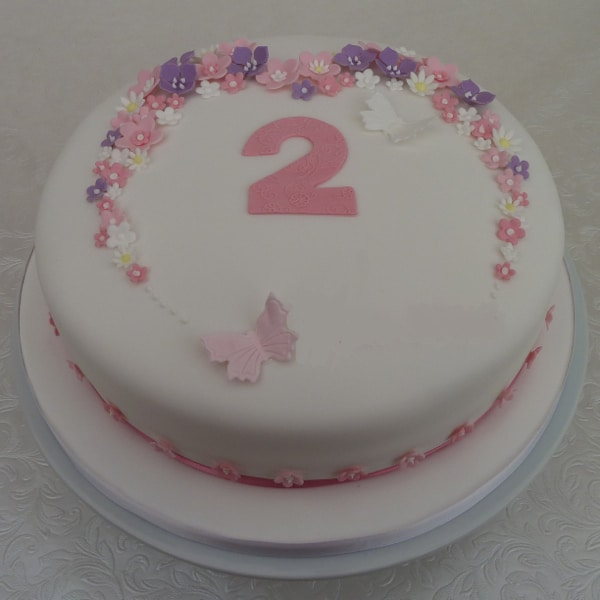Flowers And Butterflies Cake In Delicate Pink Lilac