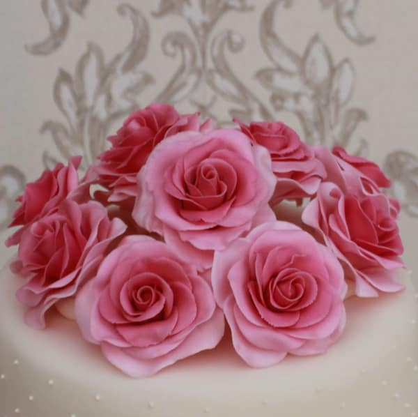 Pink rose posy wedding cake topper