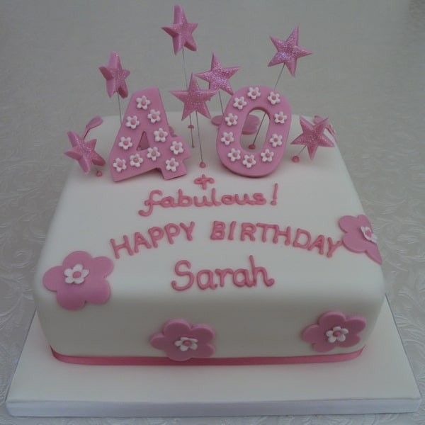 Pink Sparkle 40th Birthday Cake