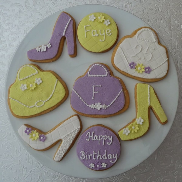lilac, lemon,white handbag & shoe cookies