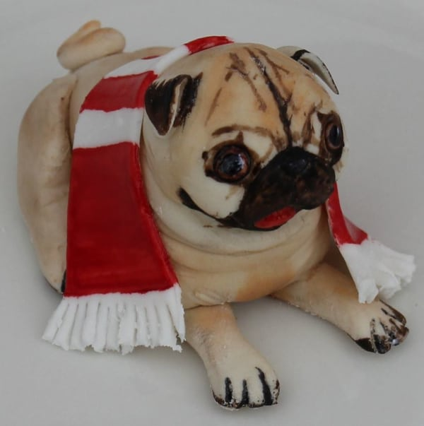 Pug dog detail on cake