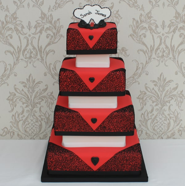Red & Black heart wedding cake