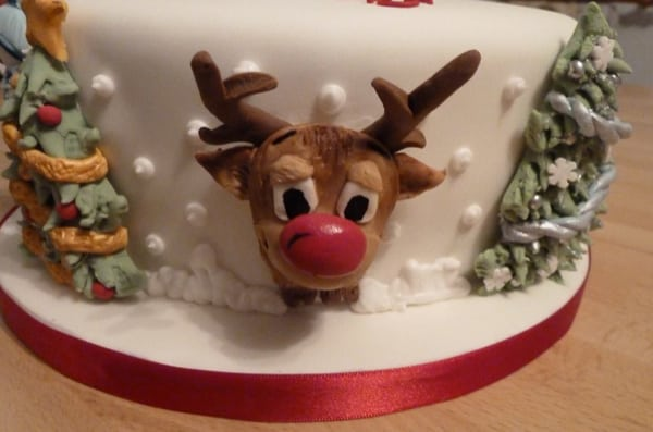 Reindeer detail on Christmas cake