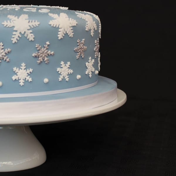 White & Silver snowflake on side of cake