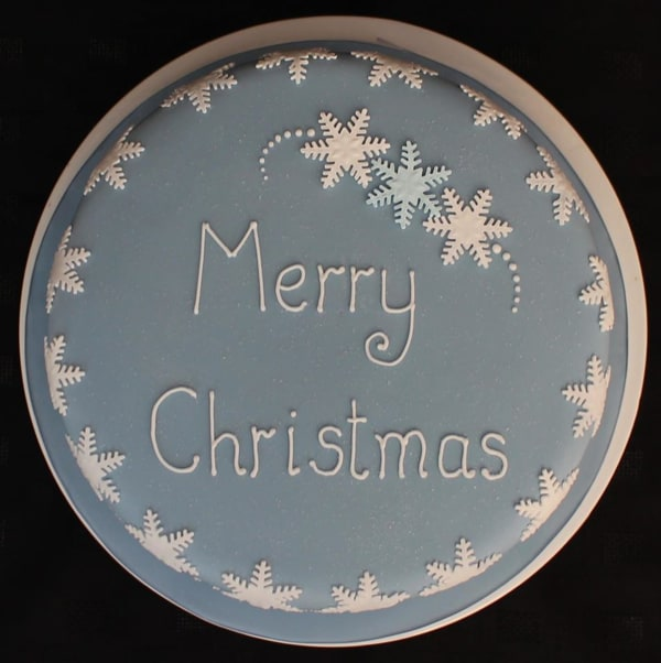 Blue snowflake Christmas cake