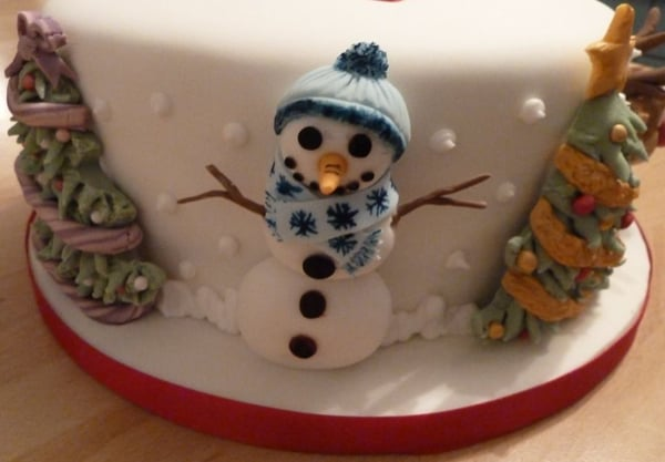 Snowman on Christmas cake detail