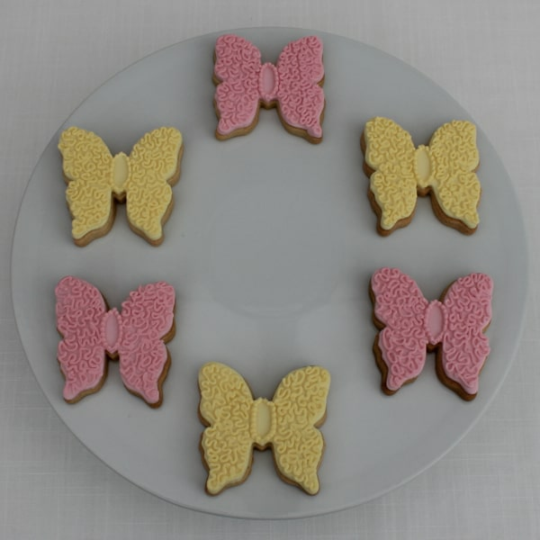 Pink & lemon butterfly wedding favours