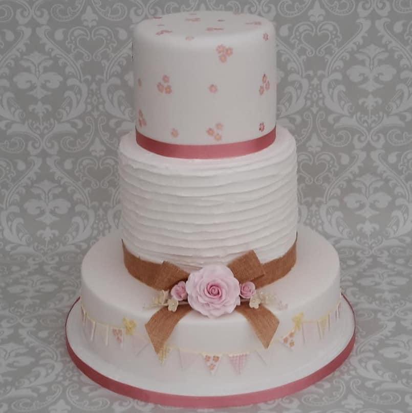 Rustic pink floral cake