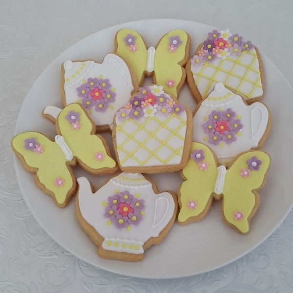 Teapot, cupcake, butterfly cookies pastel colours