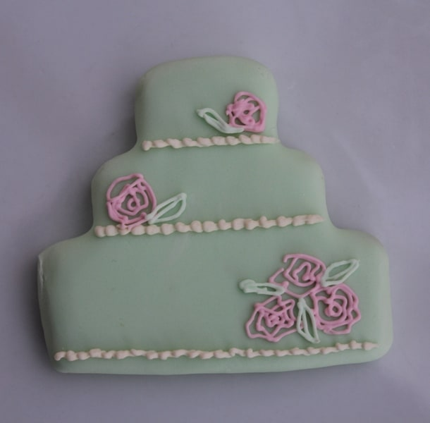 Mint green and pink wedding cake cookie favour