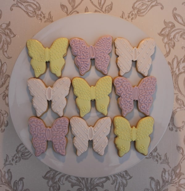 lemon, lilac and white butterfly cookies