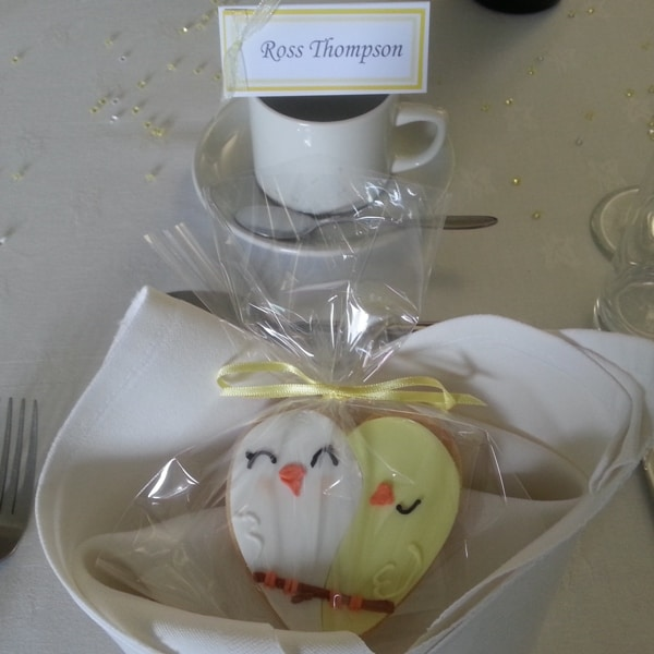 Wedding lovebird table favours