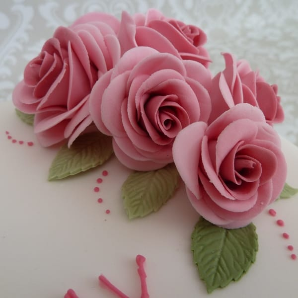 Pink Sugar Rose detail on 90th Birthday cake