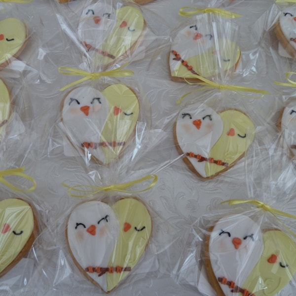 Lovebird Wedding Cookie Favours