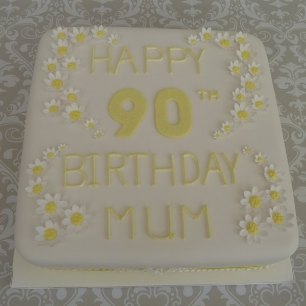 Lemon daisy 90th Birthday Cake