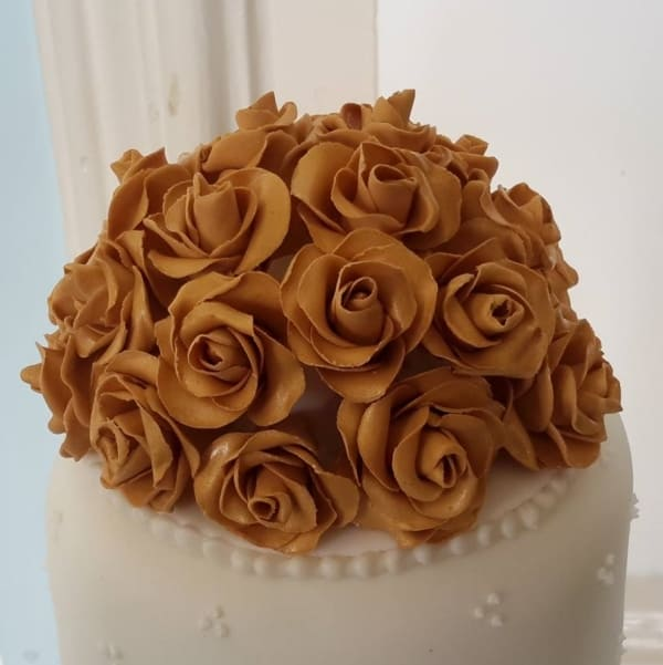 Gold rose cake topper