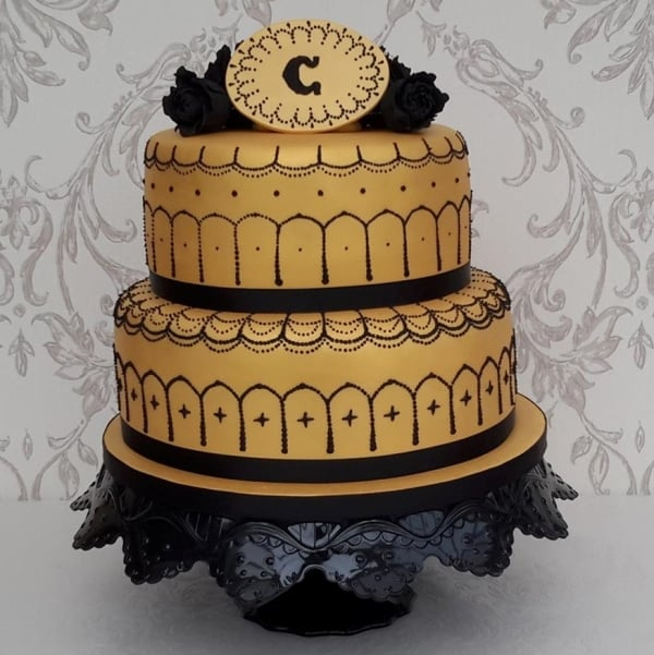 Gold & Black 2 tier Birthday cake