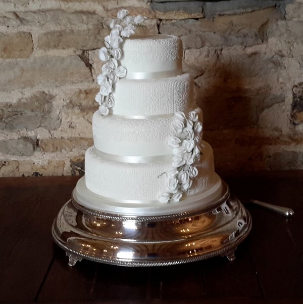 Lace and Sweet Pea 4 tier wedding cake