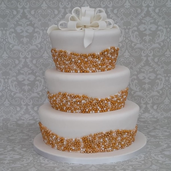 Gold & White pearls wedding cake