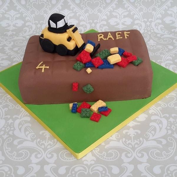 Digger lego cake