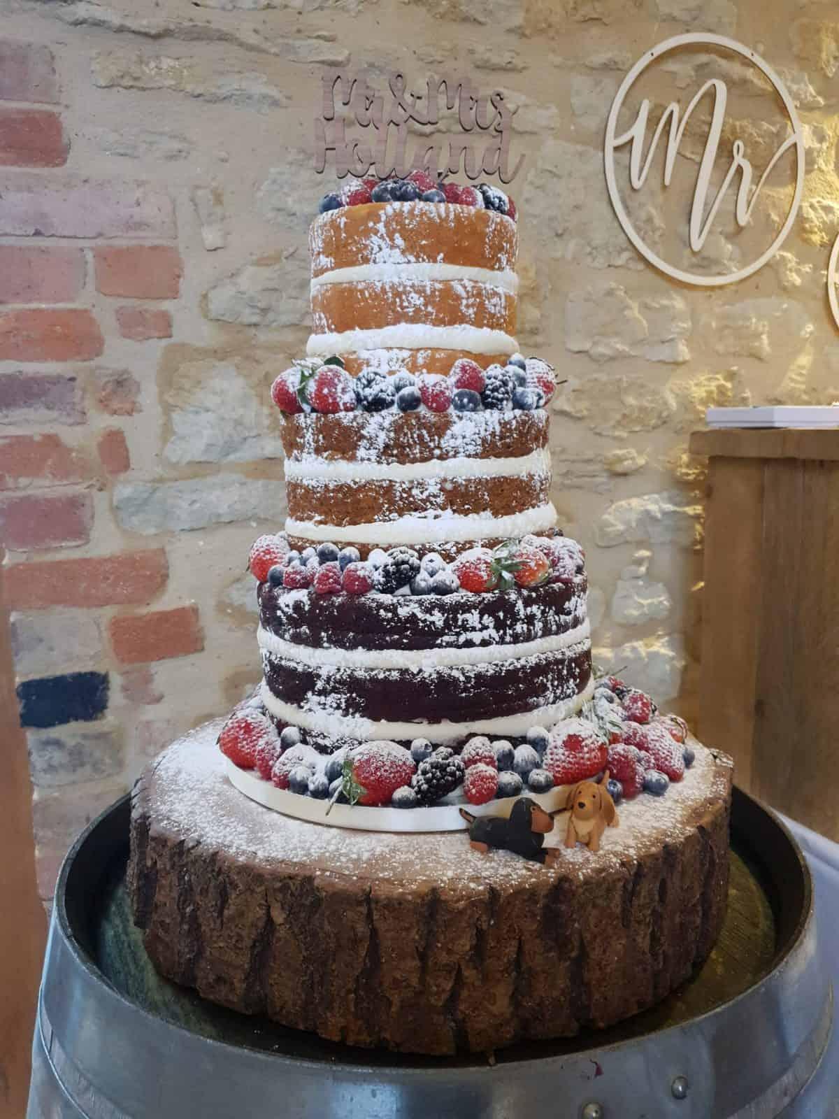 Vintage style naked wedding cake